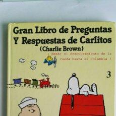 Enciclopedias de segunda mano: GRAN LIBRO DE PREGUNTAS Y RESPUESTAS DE CARLITOS CHARLIE BROWN SNOOPY. Lote 128023870