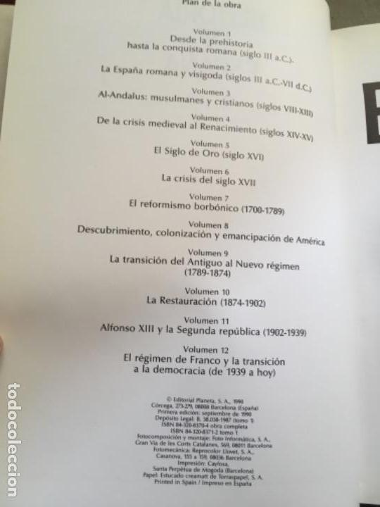 Enciclopedias de segunda mano: HISTORIA DE ESPAÑA. OBRA EN 12 TOMOS DE EDITORIAL PLANETA, 1990. - Foto 5 - 153789714