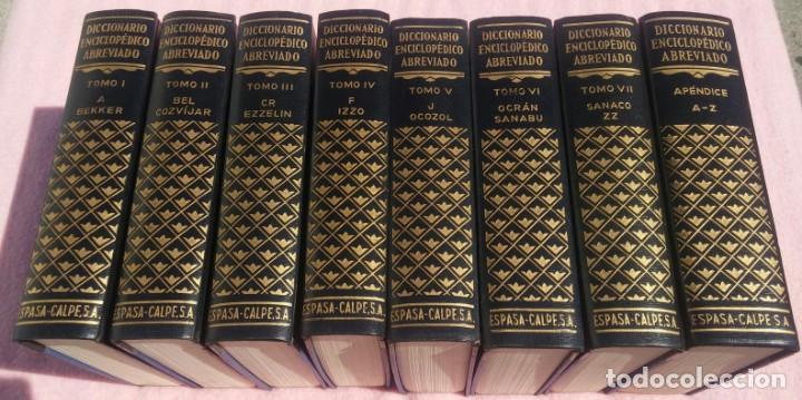 DICCIONARIO ENCICLOPÉDICO ABREVIADO, 8 VOLÚMENES, COMPLETO (ESPASA CALPE, 1957) // LAROUSSE / SALVAT (Libros de Segunda Mano - Enciclopedias)