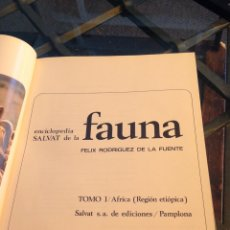 Enciclopedias de segunda mano: ENCICLOPEDIA SALVAT FAUNA. FÉLIX RODRÍGUEZ DE LA FUENTE. Lote 177651394