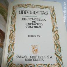 Enciclopedias de segunda mano: UNIVERSITAS. ENCICLOPEDIA DE INICIACION CULTURAL. TOMO XX. SALVAT EDITORES. 1º EDICION. 1946. Lote 206966257