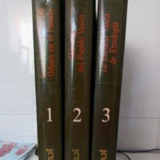 """Livres d'occasion: ENCICLOPEDIA """"MITOLOGIA DEL PUEBLO VASCO"""", """"ODISEA EN EL PASADO"""" Y """"LA ESCUELA VASCA DE ETNOLOGIA"""". Lote 275708833"""