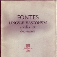Libros de segunda mano: FONTES LINGVAE VASCONVM. STVDIA ET DOCVMENTA ( 4 VOLÚM.). . Lote 21054971