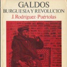 Libros de segunda mano: GALDÓS BURGUESÍA Y REVOLUCIÓN J. RODRIGUEZ PUERTOLAS EDICIONES TURNER 1975. Lote 26421900