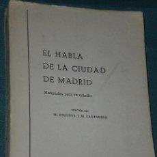 Libros de segunda mano: EL HABLA DE LA CIUDAD DE MADRID. MATERIALES PARA SU ESTUDIO.. Lote 28381954