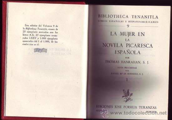 LA MUJER EN LA NOVELA PICARESCA ESPAÑOLA. THOMAS HANRAHAN. 2 VOLS. EN 1 TOMO. (Libros de Segunda Mano (posteriores a 1936) - Literatura - Ensayo)