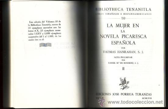 Libros de segunda mano: La mujer en la novela picaresca española. Thomas Hanrahan. 2 vols. en 1 tomo. - Foto 2 - 29829318