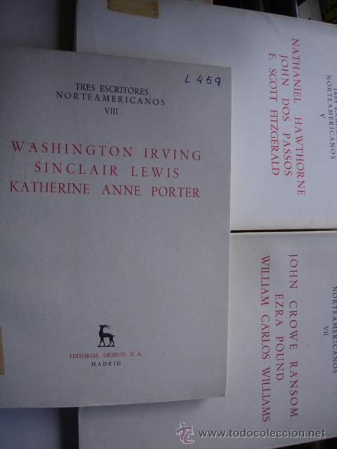 Libros de segunda mano: TRES ESCRITORES NORTEAMERICANOS.8 PRIMEROS VOLUMENES.1961.GREDOS - Foto 2 - 31235020