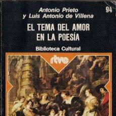 Libros de segunda mano: ANTONIO PRIETO Y LUIS ANTONIO DE VILLENA : EL TEMA DEL AMOR EN LA POESÍA (RTVE # 94). Lote 33949533