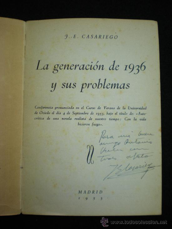 Libros de segunda mano: Folleto. La generación de 1936 y sus problemas. J.-E. Casariego. Madrid,1953. - Foto 2 - 33984310