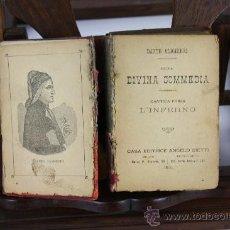 Libros de segunda mano: LP-034 - DELLA DIVINA COMMEDIA. DANTE ALIGHIERI. EDIT. ANGELO BIETTI. 1898.. Lote 38470719