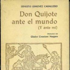 Libros de segunda mano: E. GIMÉNEZ CABALLERO : DON QUIJOTE ANTE EL MUNDO Y ANTE MÍ (PUERTO RICO, 1979). Lote 38721822