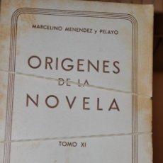 Libros de segunda mano: ORÍGENES DE LA NOVELA. DIECINUEVE TOMOS. D. MARCELINO MENÉNDEZ Y PELAYO RM64592. Lote 41502018