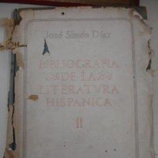 Libros de segunda mano: BIBLIOGRAFÍA DE LA LITERATURA HISPÁNICA. SIMÓN DÍAZ (JOSÉ) DOS TOMOS. Lote 42304118