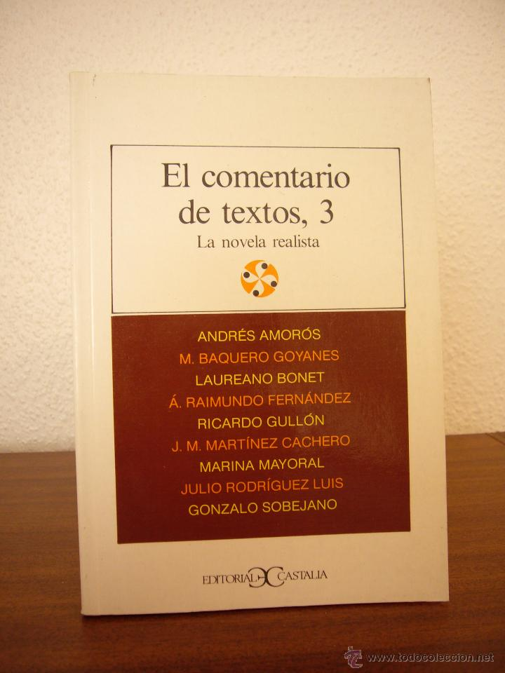 ANDRÉS AMORÓS Y OTROS: EL COMENTARIO DE TEXTOS 3: LA NOVELA REALISTA (CASTALIA, 1989) (Libros de Segunda Mano (posteriores a 1936) - Literatura - Ensayo)