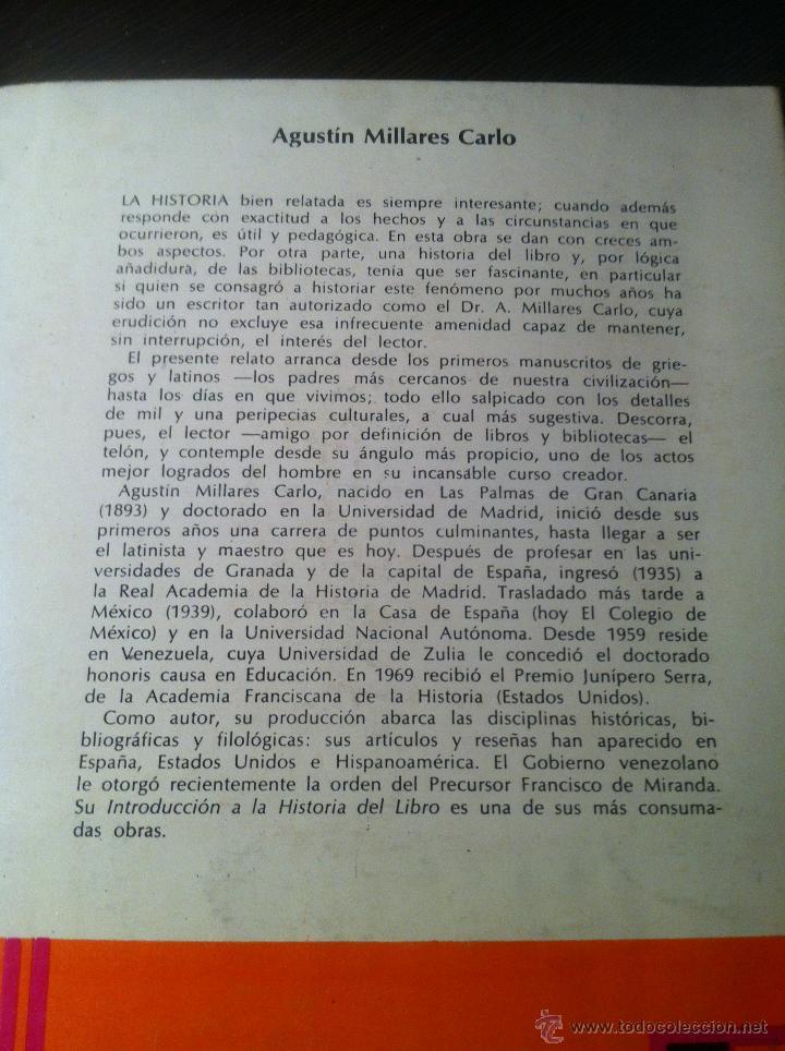 Libros de segunda mano: Introducción a la historia del libro y de las bibliotecas - A. Millares Carlo - México - 1971 - - Foto 3 - 43391404
