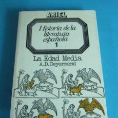 Libros de segunda mano: HISTORIA DE LA LITERATURA ESPAÑOLA. 1. LA EDAD MEDIA. A.D. DEYERMOND. DEDICATORI AUTÓGRAFA DEL AUTOR. Lote 44420379