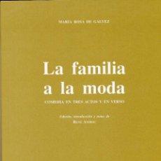 Libros de segunda mano: MARÍA ROSA DE GÁLVEZ, LA FAMILIA A LA MODA, 2001. Lote 62437546