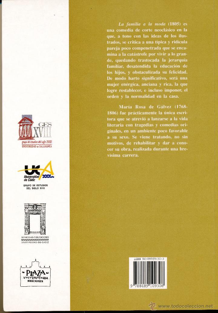 Libros de segunda mano: María Rosa de Gálvez, La familia a la moda, 2001 - Foto 2 - 62437546