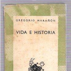 Libros de segunda mano: VIDA E HISTORIA. GREGORIO MARAÑÓN. COLECCIÓN AUSTRAL. Nº185. ESPASA-CALPE, S.A. 1943. Lote 49906427