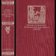 Libros de segunda mano: HOMENAJE A LA MEMORIA DE D. ANTONIO RODRÍGUEZ-MOÑINO (1910-1970) - BIBLIOFILIA - BIBLIOGRAFÍA. Lote 52370486