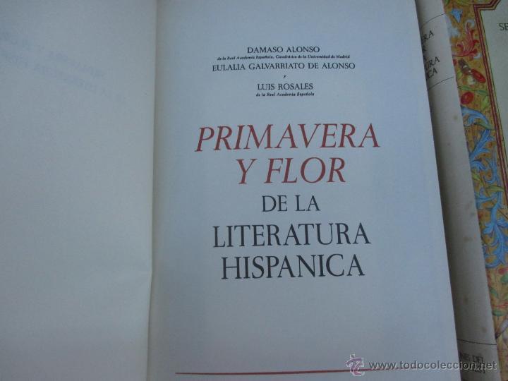 Libros de segunda mano: PRIMAVERA Y FLOR DE LA LITERATURA HISPANICA - DAMASO ALONSO Y VV.AA, 3 TOMOS DE 4, 1966 + INFO - Foto 3 - 54563260