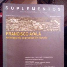 Libros de segunda mano: ANTHROPOS SUPLEMENTOS Nº 40. FRANCISCO AYALA. ANTOLOGÍA DE SU PRODUCCIÓN LITERARIA. Lote 55088808