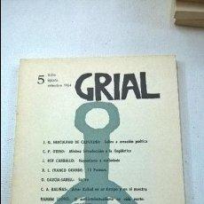 Libros de segunda mano: GRIAL-REVISTA GALEGA DE CULTURA-Nº 5-VIGO-EDITORIAL GALAXIA-RAMON LUGRIS-ROF CARBALLO-AÑO 1964. Lote 56272672