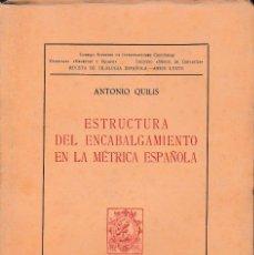 Libros de segunda mano: ESTRUCTURA DEL ENCABALGAMIENTO EN LA MÉTRICA ESPAÑOLA (A. QUILIS 1964) SIN USAR.. Lote 56615150