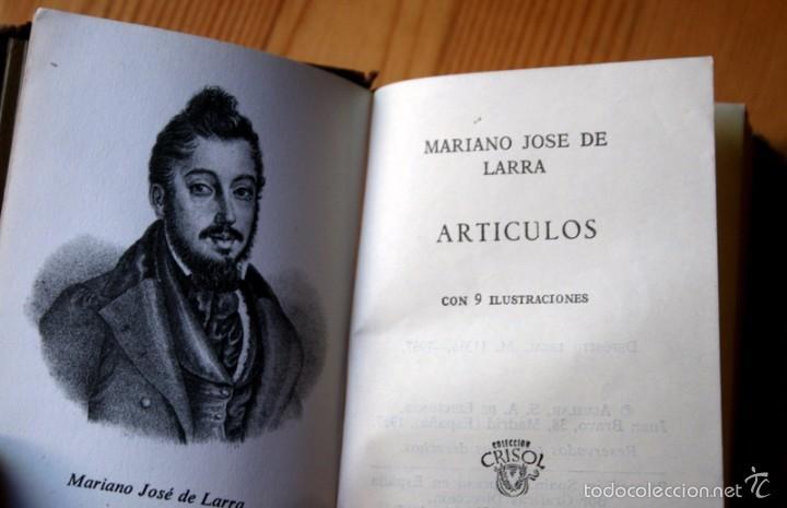 Libros de segunda mano: ARTICULOS - LARRA - AGUILAR - 1967 - CRISOL 025 - ILUSTRADO - Foto 3 - 57132281