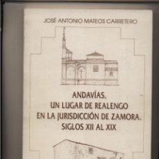 Libros de segunda mano: ANDAVÍAS, UN LUGAR DE REALENGO EN LA JURISDICIÓN DE ZAMORA. SIGLOS XII AL XIX MATEOS CARRETERO, JOS. Lote 66503778