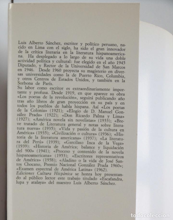 Libros de segunda mano: Escafandra, Lupa y Atalaya – Ensayos ( 1923 – 1976) - autor: Luis Alberto Sánchez - Foto 3 - 75795419