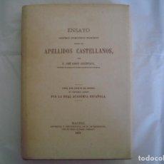 Libros de segunda mano: LIBRERIA GHOTICA. ENSAYO SOBRE LOS APELLIDOS CASTELLANOS. 1871.FACSÍMIL.EDICIONES EL ALBIR. NUMERADO. Lote 97496315