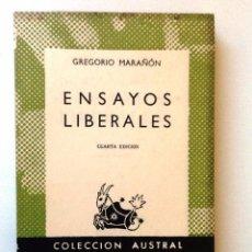 Libros de segunda mano: ENSAYOS LIBERALES 1956 GREGORIO MARAÑON. COLECCION AUSTRAL 600. Lote 97672795
