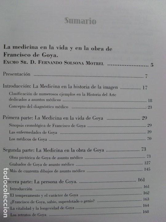 Libros de segunda mano: LA MEDICINA EN LA VIDA Y EN LA VIDA DE FRANCISCO DE GOYA / Fernando Solsona Motrel / 2010 - Foto 4 - 102088223
