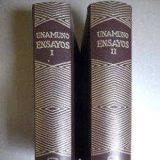 Libros de segunda mano: UNAMUNO. ENSAYOS I Y II ED. AGUILAR. Lote 151485168