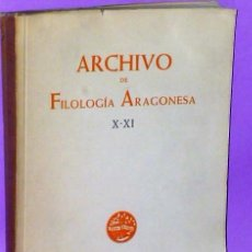 Libros de segunda mano: ARCHIVO DE FILOLOGIA ARAGONESA X- XI.. Lote 111412067