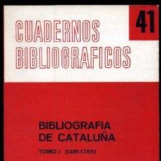 Libros de segunda mano - BIBLIOGRAFIA DE CATALUÑA. Nº 41. Tomo 1. María del Carmen Simón Palmer, Madrid. C. S. I. C.1980. - 114261635