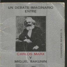 Libros de segunda mano: MAURICE CRANSTON.UN DEBATE IMAGINARIO ENTRE CARLOS MARX Y MIGUEL BAKUNIN. TUSQUETS CUADERNOS INFIMOS. Lote 115323587