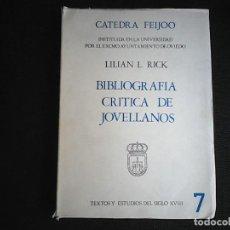 Libros de segunda mano: JOVELLANOS CATEDRA FEIJOO BIBLIOGRAFÍA CRÍTICA. Lote 118366959