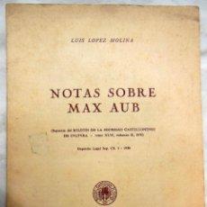 Libros de segunda mano: NOTAS SOBRE MAX AUB. LOPEZ MOLINA LUIS. 1970. Lote 119960723