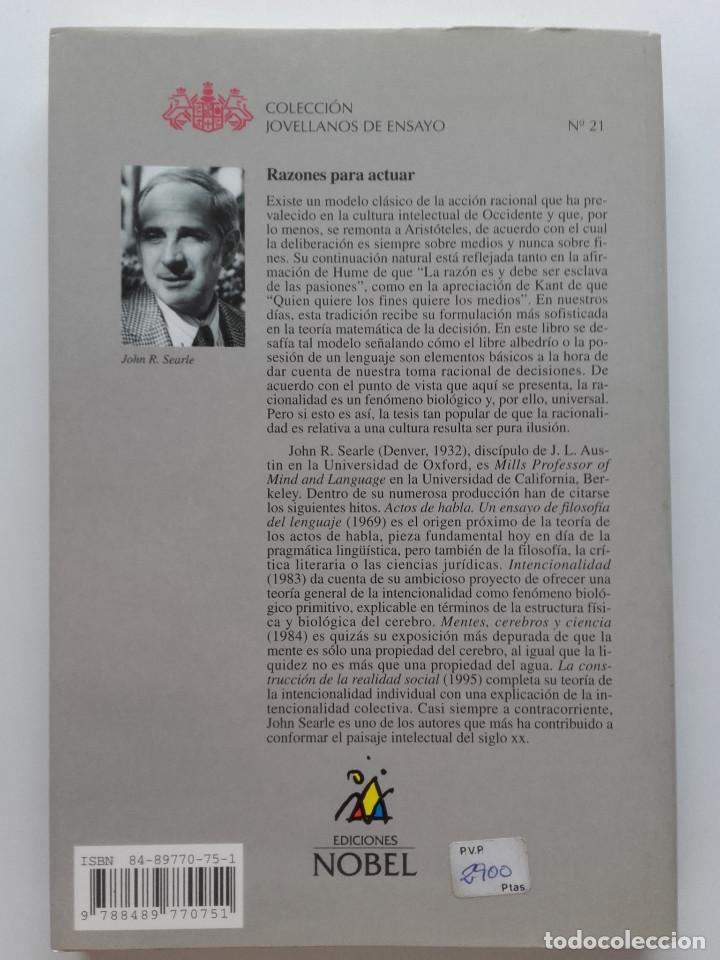 Libros de segunda mano: RAZONES PARA ACTUAR - PREMIO INTERNACIONAL ENSAYO JOVELLANOS 2000 - JOHN R. SEARLE - Foto 2 - 122951211