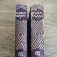 Libros de segunda mano: UNAMUNO ENSAYOS (COMPLETO, 2 VOLUMENES) 1958. Lote 124422999