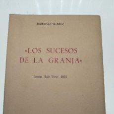 Libros de segunda mano: LOS SUCESOS DE LA GRANJA - FEDERICO SUAREZ - PREMIO LUIS VIVES 1951 - CSIC - ESCUELA DE HISTORIA MOD. Lote 132147798