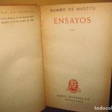 Libros de segunda mano: ENSAYOS. RAMIRO DE MAEZTU. BIBLIOTECA EMECE BUENOS AIRES 1948. Lote 140086010
