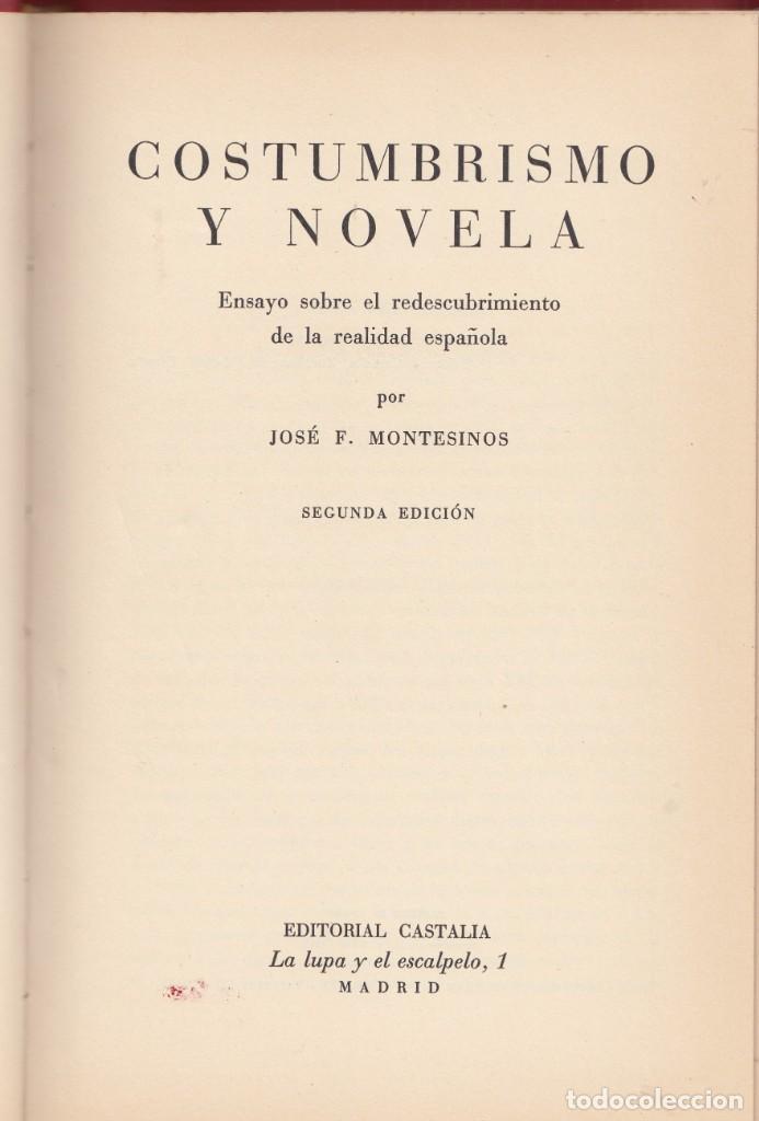 JOSÉ F. MONTESINOS: COSTUMBRISMO Y NOVELA. CASTALIA, 1965. (Libros de Segunda Mano (posteriores a 1936) - Literatura - Ensayo)