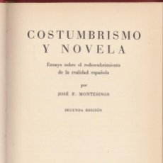 Libros de segunda mano: JOSÉ F. MONTESINOS: COSTUMBRISMO Y NOVELA. CASTALIA, 1965. . Lote 147515786