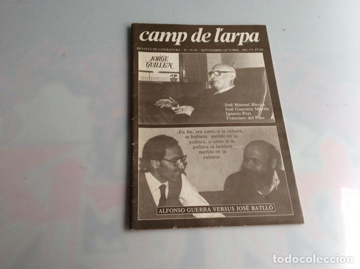 CAMP DE L´ARPA Nº 91-92 JORGE GUILLEN - REVISTAS DE LITERATURA (Libros de Segunda Mano (posteriores a 1936) - Literatura - Ensayo)