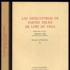 Gebrauchte Bücher - VEGA CARPIO, Lope de. Las Dedicatorias de Partes XIII a XX de Lope de Vega. 1975. - 168563856