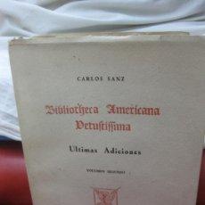 Libros de segunda mano: CARLOS SANZ. BIBLIOTECA AMERICANA VETUSTISSIMA. ULTIMAS ADICIONES. VOL. SEGUNDO. MADRID 1960.. Lote 170158808